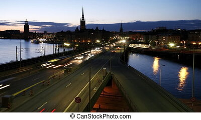 Stockholm city at night and traffic