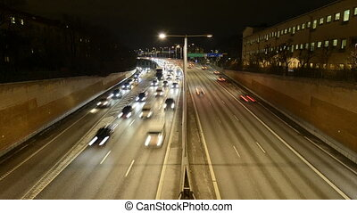 Stockholm city at night, Highway Traffic
