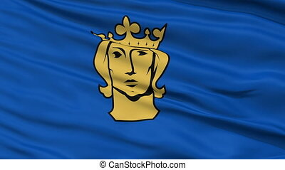 Stockholm City Close Up Waving Flag - Stockholm Capital City...