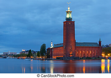 Stockholm City Hall at night