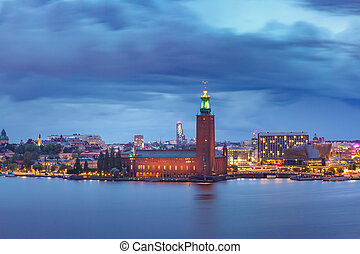 Stockholm City Hall at night, Stockholm, Sweden
