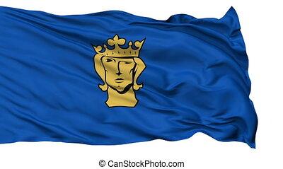 Stockholm City Isolated Waving Flag