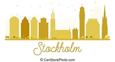 Stockholm City skyline golden silhouette.