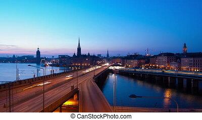 Stockholm City - Traffic in Stockholm City at nigh