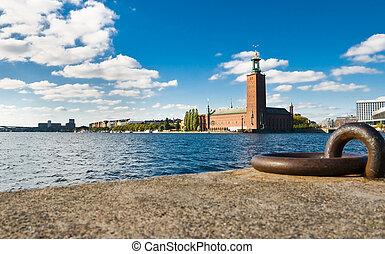 stockholm, hôtel ville, quayside