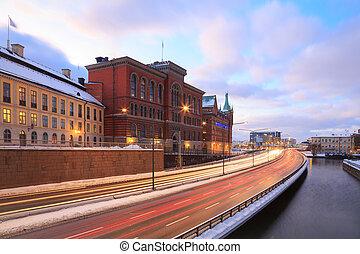 Gamla Stan Highway to Stockholm City at dusk Sweden