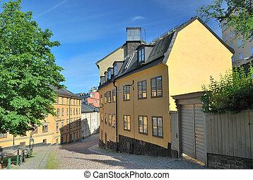 Stockholm.  Narrow street in  Sodermalm