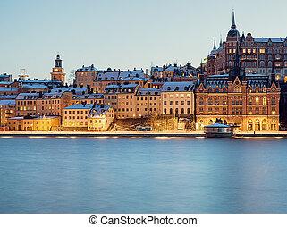 Stockholm night image. - Stockholm Sodermalm and...