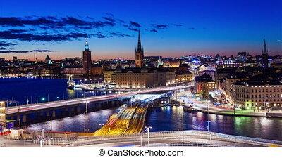 Stockholm old city Sunset panorama timelapse night traffic