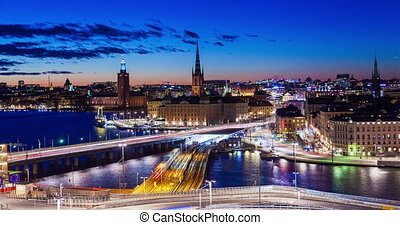 Stockholm old city Sunset panorama timelapse night traffic