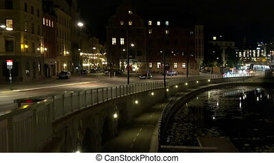 Stockholm. Old town. Architecture, old houses, streets and neighborhoods. Night, lights.