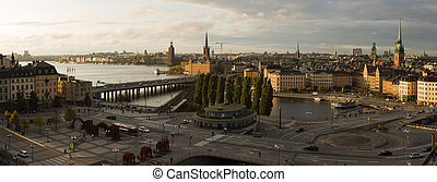 Stockholm panorama - Panoramic view of stockholm at sunset