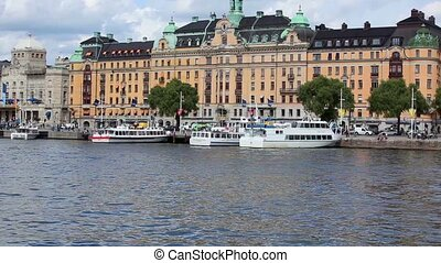 Stockholm panorama. View from quay.