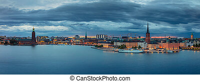 Stockholm. - Panoramic image of Stockholm, Sweden during...