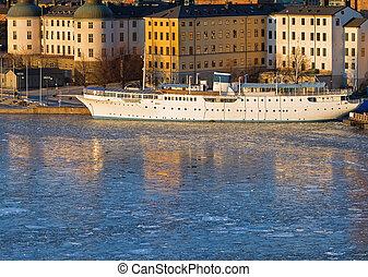 Stockholm Riddarholmen in winter.