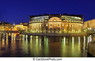 Stockholm, Rigsdag, illuminated House of Parliament
