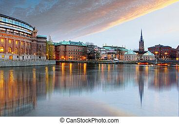stockholm, riksdag, sweden., (parliament), gebäude.