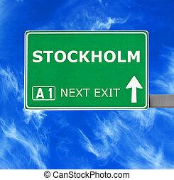 STOCKHOLM road sign against clear blue sky