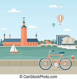 Stockholm seaside promenade, view of the City Hall - Flat...