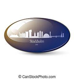 Stockholm Skyline 3d icon.