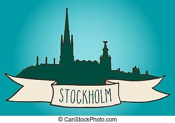 Stockholm skyline illustration