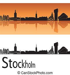 Stockholm skyline in orange background in editable vector...