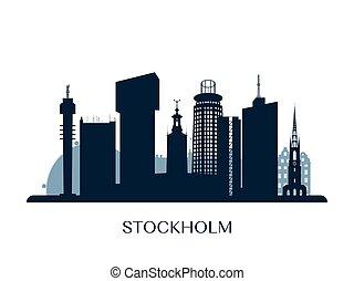 Stockholm skyline, monochrome silhouette.