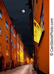stockholm, straße, in, mondschein