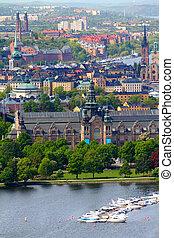 Stockholm, Sweden. Aerial view of famous Djurgarden island...