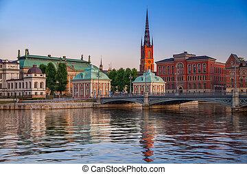 Stockholm Sweden during twilight blue hour.