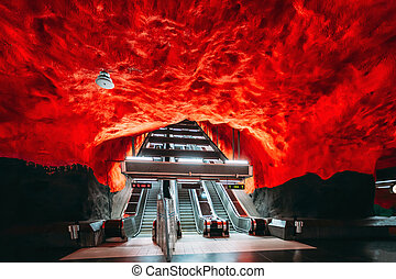 Stockholm, Sweden. Escalator in Stockholm Metro Underground Subway Station