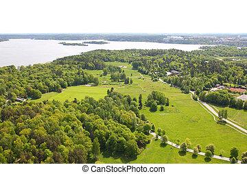 Stockholm, Sweden. Forest park at Gardet district (official...