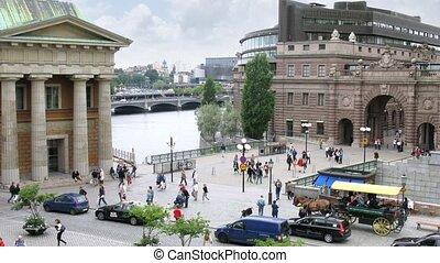 Traffic at Mynttorget square - STOCKHOLM, SWEDEN - JULY 15:...