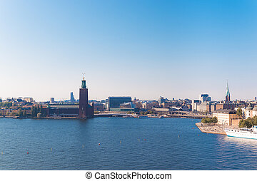 Cityscape image of the architecture of the Old Town pier in the Sodermalm district of Stockholm, Sweden