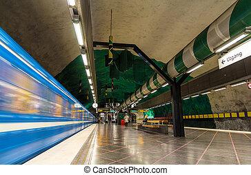 STOCKHOLM, SWEDEN - MAY 30: Train leaving Huvudsta metro station