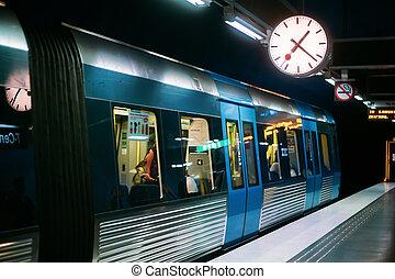 Stockholm, Sweden. Modern Illuminated Metro Underground Subway Station With Train