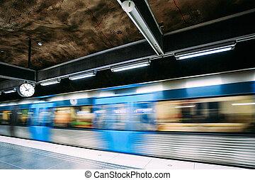 stockholm, sweden., moderne, stockholm, under jorden, undergrundsbane, underjordisk, tog station