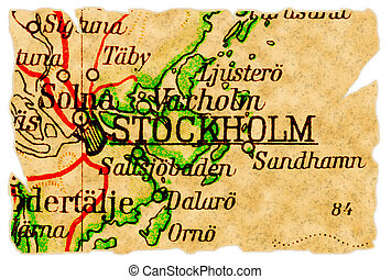 Stockholm, Sweden on an old torn map from 1949, isolated. Part of the old map series.