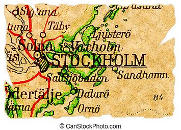 Stockholm, Sweden old map - Stockholm, Sweden on an old torn...