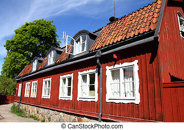 Sweden - Stockholm, Sweden. Old, typical Scandinavian house...