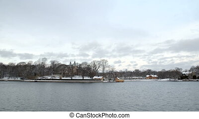 Stockholm Sweden seaside town in winter