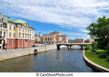 Stockholm, Sweden - Stockholm. View from the Bridge Riksbron