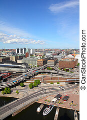 Stockholm, Sweden. View of Norrmalm borough from City Hall.
