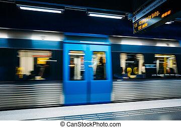 stockholm, underjordisk, tog station, ind, blå, farver, sverige