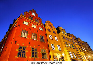 Stockholms old city at night