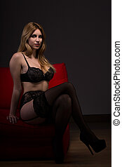 Stocking and high heels - Alluring woman in lingerie with...