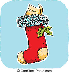 A cartoon stocking with an IOU instead of a present.