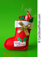 Stocking - Red Christmas stocking decoration filled with...