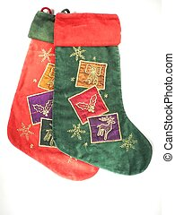 a set of christmas stockings on white