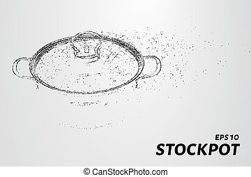 Stockpot from particles. The stockpot consists of small circles and dots. Vector illustration.